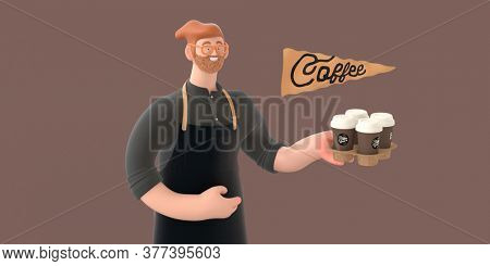 Coffee shop 3D render - barista -modern concept digital illustration of a bearded red haired young man wearing apron holding a coffee cup in a carton holder. Creative landing web page header
