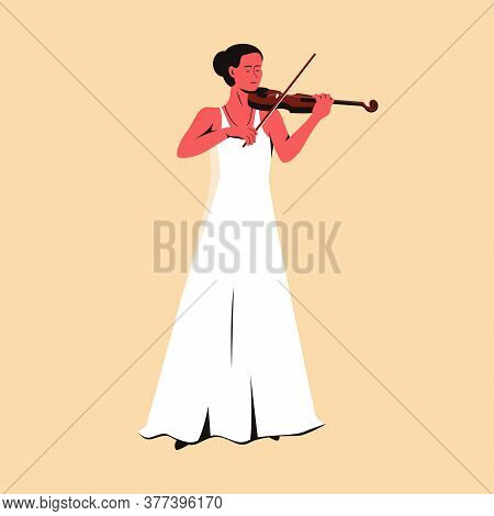 Beautiful Female Musician In Long White Dress Playing Violin. Flat Vector Illustration Of A Woman Pe