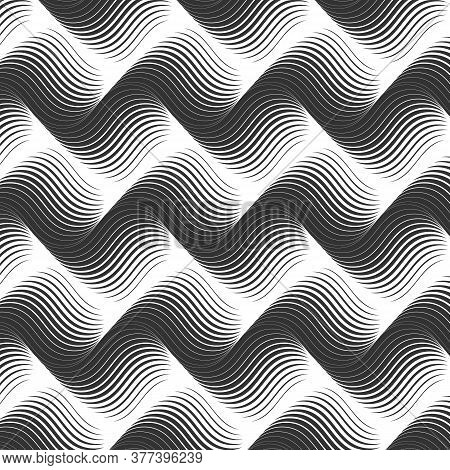 Linear Vector Pattern, Repeating Wavy Line On Horizon, Monochrome Stylish. Pattern Is Clean For Fabr