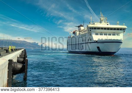 Split Croatia July 2019 Large Passenger And Car Ferry Petar Hektorovic Undocking From Newly Built Do