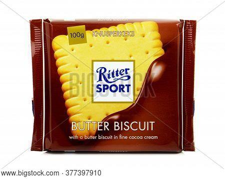 Bucharest, Romania - July 17, 2015. Ritter Sport Butter Biscuit. Milk Chocolate Bar With A Butter Bi