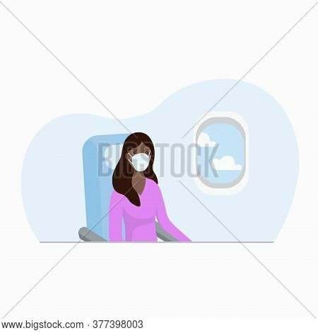 Woman Flying In Airplane, Sitting On Cabin Seat For Passenger, Wearing Protective Masks And Gloves.