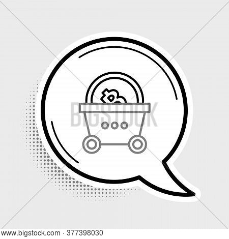 Line Shopping Basket With Bitcoin Icon Isolated On Grey Background. Blockchain Technology, Cryptocur
