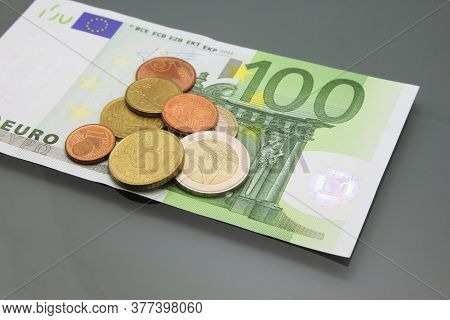 One Hundred Euro Bill And Coins, Euro Money, Euro Money Banknotes.