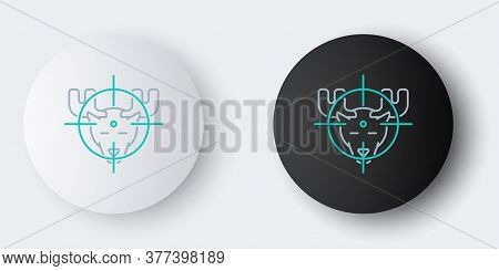 Line Hunt On Moose With Crosshairs Icon Isolated On Grey Background. Hunting Club Logo With Moose An