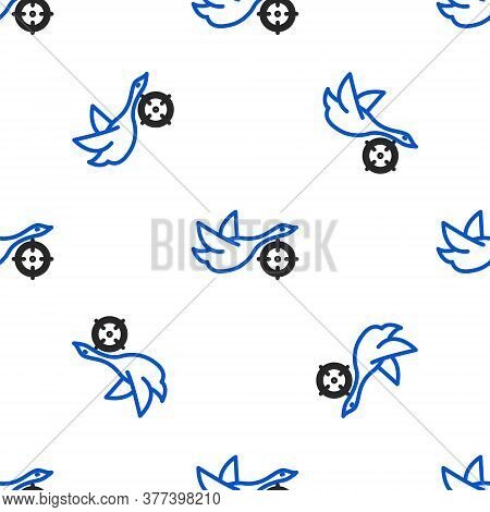 Line Hunt On Duck With Crosshairs Icon Isolated Seamless Pattern On White Background. Hunting Club L