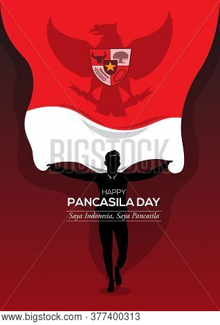 An Illustration Of Man Holding A National Flag. Pancasila, Marks The Date Of Sukarno's 1945 Address