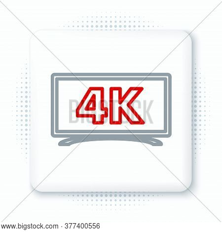 Line Screen Tv With 4k Ultra Hd Video Technology Icon Isolated On White Background. Colorful Outline