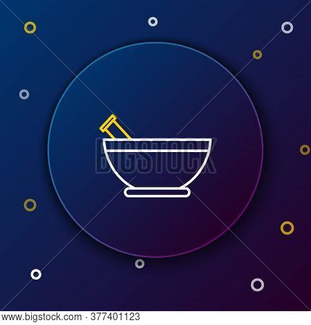 Line Mortar And Pestle Icon Isolated On Blue Background. Colorful Outline Concept. Vector