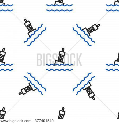 Line Floating Buoy On The Sea Icon Isolated Seamless Pattern On White Background. Colorful Outline C