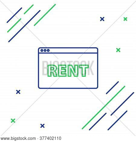 Line Hanging Sign With Text Online Rent Icon Isolated On White Background. Signboard With Text Rent.