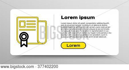 Line Certificate Template Icon Isolated On White Background. Achievement, Award, Degree, Grant, Dipl