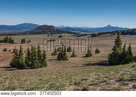 View Of The Pumice Desert In The Northern Section Of The Crater Lake National Park, Oregon, Usa, On