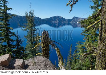 Panoramic View Of The East Side Of Blue Crater Lake From The Rim Village In The Summer During The Da