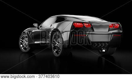 3d Rendering Of A Modern Black Sedan Car With Studio Light.