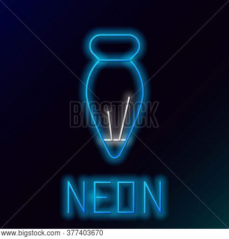 Glowing Neon Line Pastry Bag For Decorate Cakes With Cream Icon Isolated On Black Background. Kitche