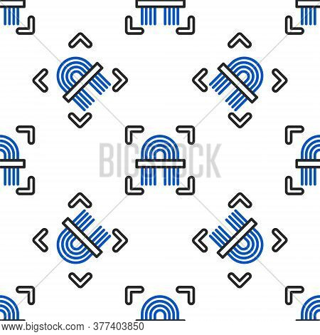 Line Fingerprint Icon Isolated Seamless Pattern On White Background. Id App Icon. Identification Sig