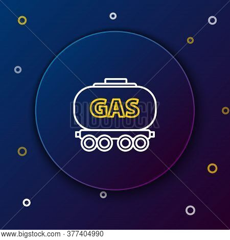 Line Gas Railway Cistern Icon Isolated On Blue Background. Train Gasoline Tank On Railway Car. Rail