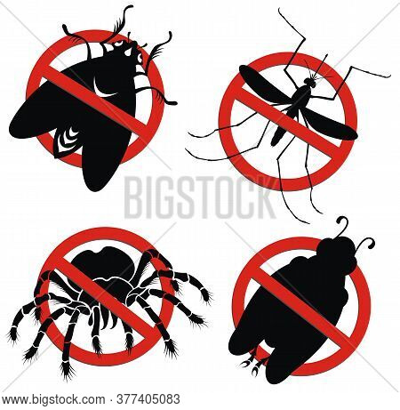 Stop Insect Symbols.no Mosquito Sign , Stop Mosquito Sign Vector Illustration