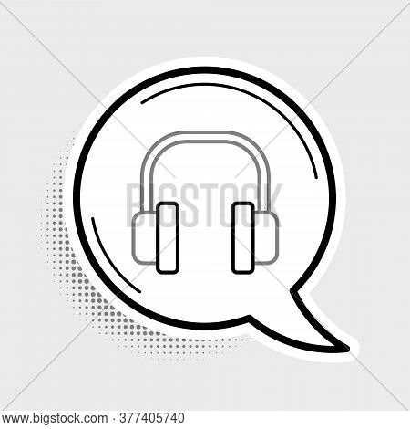 Line Headphones Icon Isolated On Grey Background. Earphones. Concept For Listening To Music, Service