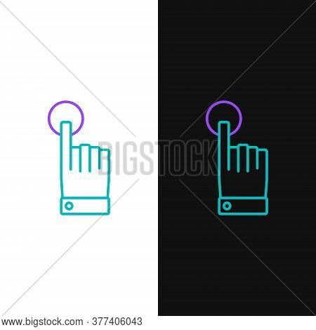 Line Hand Touch And Tap Gesture Icon Isolated On White And Black Background. Click Here, Finger, Tou