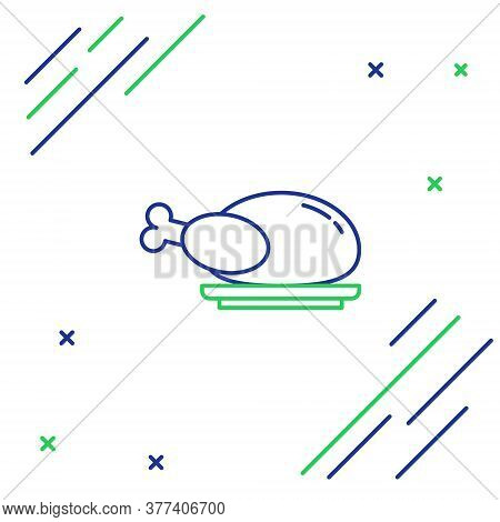 Line Roasted Turkey Or Chicken Icon Isolated On White Background. Colorful Outline Concept. Vector