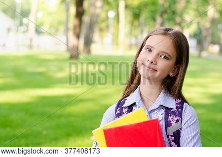 Back To School. Education Concept. Cute Smiling Schoolgirl Outdoor. Happy Little Girl Child With Bac