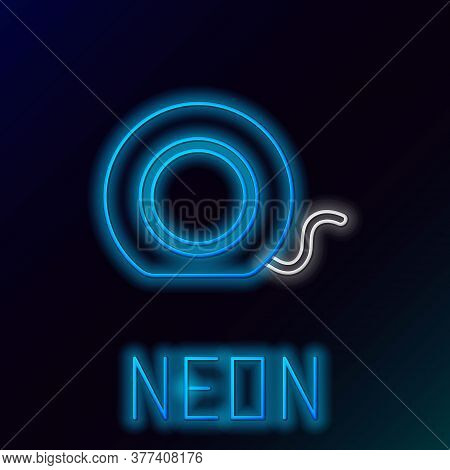 Glowing Neon Line Dental Floss Icon Isolated On Black Background. Colorful Outline Concept. Vector