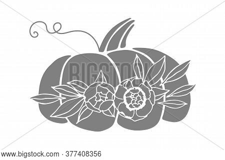 Pumpkin Vector Drawing. Vegetable Decorated With Bouquet Of Flowers. Pumpkin Flower Arrangement. Aut
