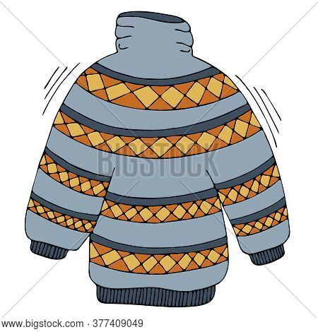 Blue Knitted Sweater With A Geometric Pattern For Autumn, Freehand Drawing, Vector Elements In Doodl