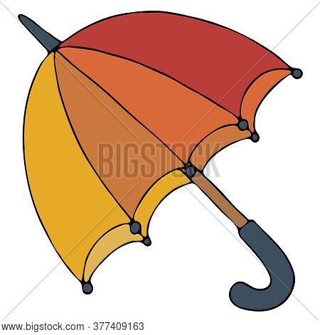 Open Umbrella Red-orange-yellow With A Blue Pen, Freehand Drawing, Vector Doodle Element, Black Outl