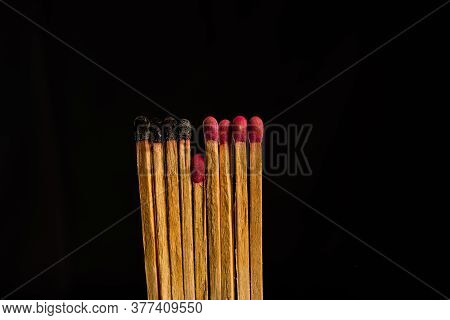One In The Crowd Concept Of Matchstick With Flames, With The Idea Of Distance, Prominence, Dedicatio