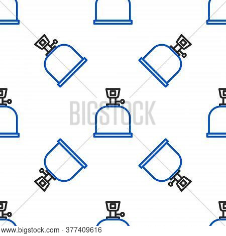 Line Camping Gas Stove Icon Isolated Seamless Pattern On White Background. Portable Gas Burner. Hiki