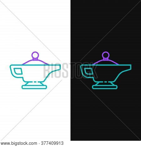 Line Magic Lamp Or Aladdin Lamp Icon Isolated On White And Black Background. Spiritual Lamp For Wish