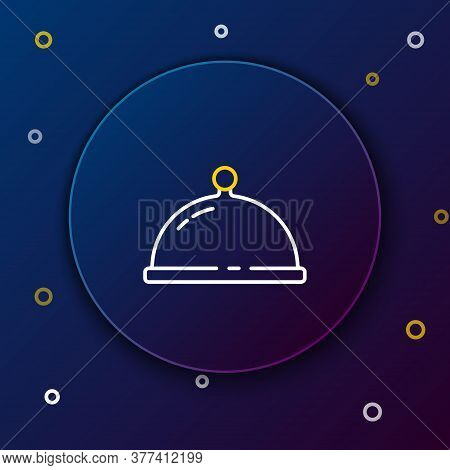 Line Covered With A Tray Of Food Icon Isolated On Blue Background. Tray And Lid. Restaurant Cloche W