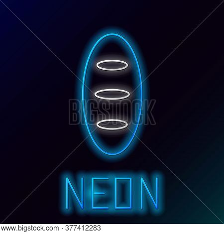 Glowing Neon Line Bread Loaf Icon Isolated On Black Background. Colorful Outline Concept. Vector