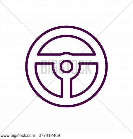 Car Steering Wheel Glyph Icon. Steering Wheel. Silhouette Symbol. Negative Space. Vector Isolated Il