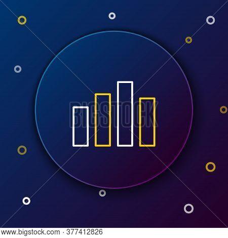 Line Music Equalizer Icon Isolated On Blue Background. Sound Wave. Audio Digital Equalizer Technolog