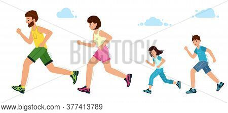 Happy Family On A Jogging. Father, Mother, Daughter And Son Are Running.