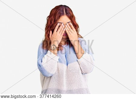 Young latin woman wearing casual clothes rubbing eyes for fatigue and headache, sleepy and tired expression. vision problem