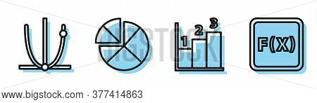 Set Line Graph, Schedule, Chart, Diagram, Ringing Bell, Abacus And Equation Solution Icon. Vector