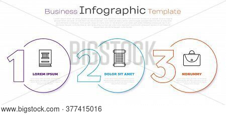 Set Line Law Book, Decree, Paper, Parchment, Scroll And Briefcase. Business Infographic Template. Ve