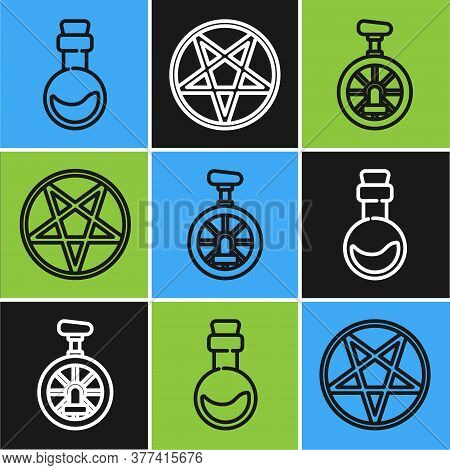 Set Line Bottle With Love Potion, Unicycle Or One Wheel Bicycle And Pentagram In A Circle Icon. Vect