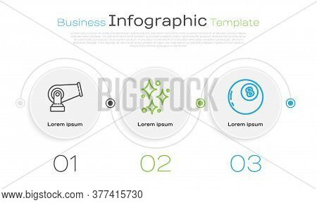 Set Line Cannon, Sparkle Stars With Magical Glitter And Magic Ball Of Predictions. Business Infograp