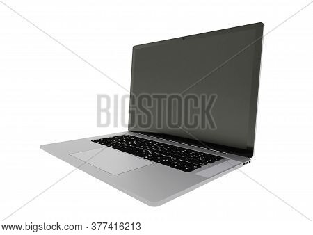 Laptop Realistic Computer In Mockup Style. Laptop Isolated On A White Background. Side View Of Open