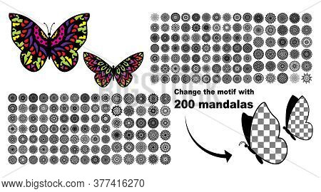 Various Mandala Collections 200. Variations Of Butterflies With Motifs. Vector