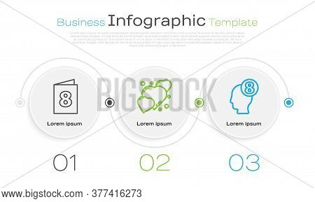 Set Line Greeting Card With 8 March, Heart And 8 March In Human Head. Business Infographic Template.