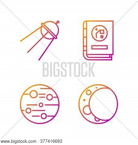 Set Line Moon, Planet Mars, Satellite And Book By Astronomy. Gradient Color Icons. Vector