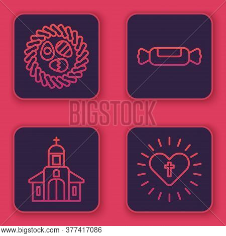 Set Line Easter Egg In A Wicker Nest, Church Building, Candy And Christian Cross And Heart. Blue Squ