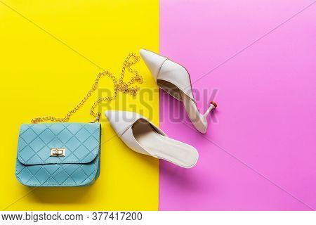 Fashion Bag And Shoe Woman Accessories Pastel Background. Trendy Fashion Luxury Handbag, Shoe, Perfu